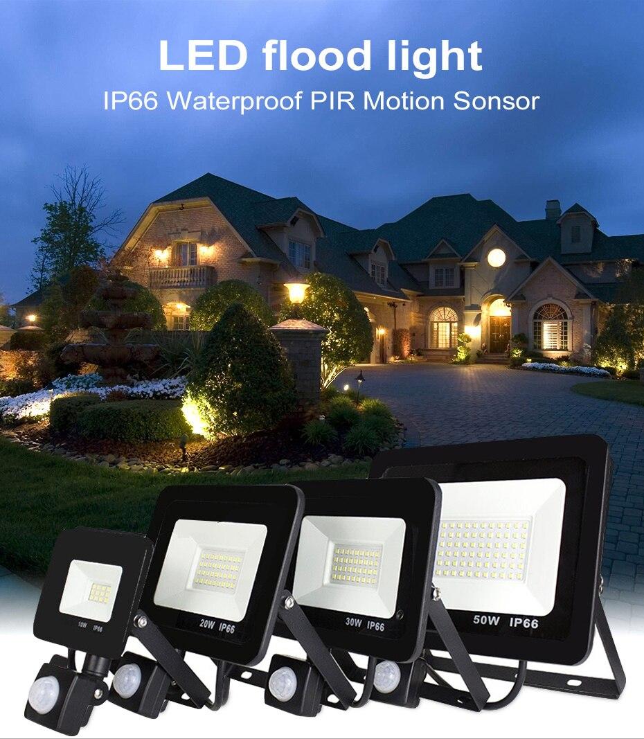 10W 20W 30W 50W 100 W 150 W 200 W สวนค้นหาโคมไฟ LED น้ำท่วมแสงโปรเจคเตอร์ภูมิทัศน์ PIR Motion Sensor Light AC220