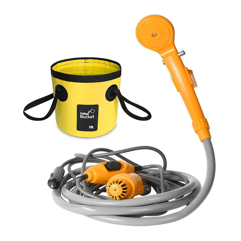 Portable Car Washer 12V Camping Shower DC Car Shower High Pressure Power Washer Electric Pump For