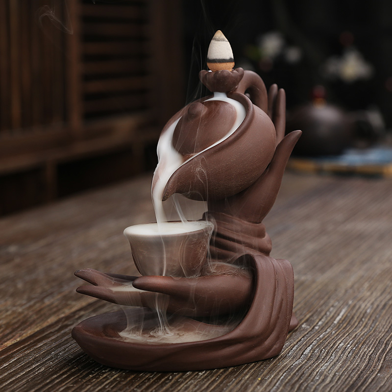 F Ceramic Waterfall Incense Burner Buddha Hand Censer Holder Indoor Smoke Backflow Incense Fountain Buddhist Altar Table Decor