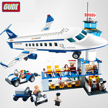 GUDI Legoingly  International Airport Aviation Aircraft Building Blocks Sets kits Bricks Model Kids Toys Creator Compatible