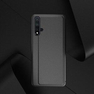 PU skóra + twardy PC okno zobacz inteligentne etui z klapką do Huawei P40 P30 P20 lite Nova 5T Mate 20 30 Pro Y9 Prime 2019 funkcja okładka