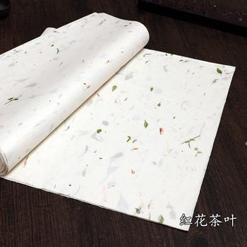 Ręcznie zrobiony kwiatek długi włókno Yunlong Xuan papier pół dojrzały papier ryżowy pędzel do pisania obraz z kaligrafią papiernicze papier Xuan tanie i dobre opinie CN (pochodzenie) Chińskie malarstwo half ripe xuan paper
