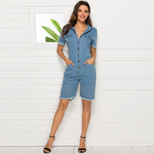 denim jumpsuits for women Fashion sexy woman jumpsuit blue fitted plus size women denim dress large size playsuit female romper plus size fitted two tone dress