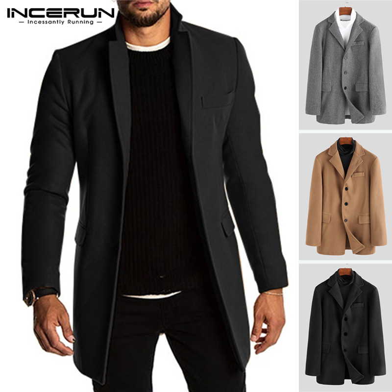 INCERUN Winter Men Trench Faux Fleece Blends Jackets Long Sleeve Solid Casual Business Coats Streetwear Men Brand Overcoats 2019