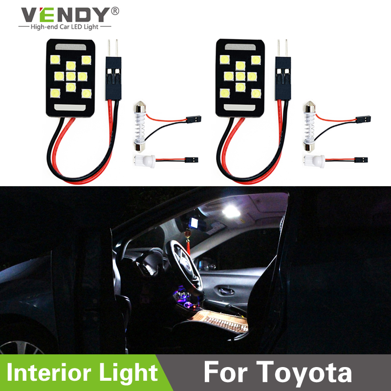 2x LED Panel Light Interior Map Dome Trunk Bulb For Toyota Camry Yaris Corolla RAV4 Sienna Tacoma Highlander <font><b>Prius</b></font> Land Cruiser image