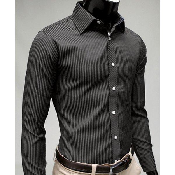 2020 Gentleman Stripe Long Sleeve Shirt Leisure Men's Casual Slim Long-sleeved Shirt Top Blouse Business Men Brand Clothing