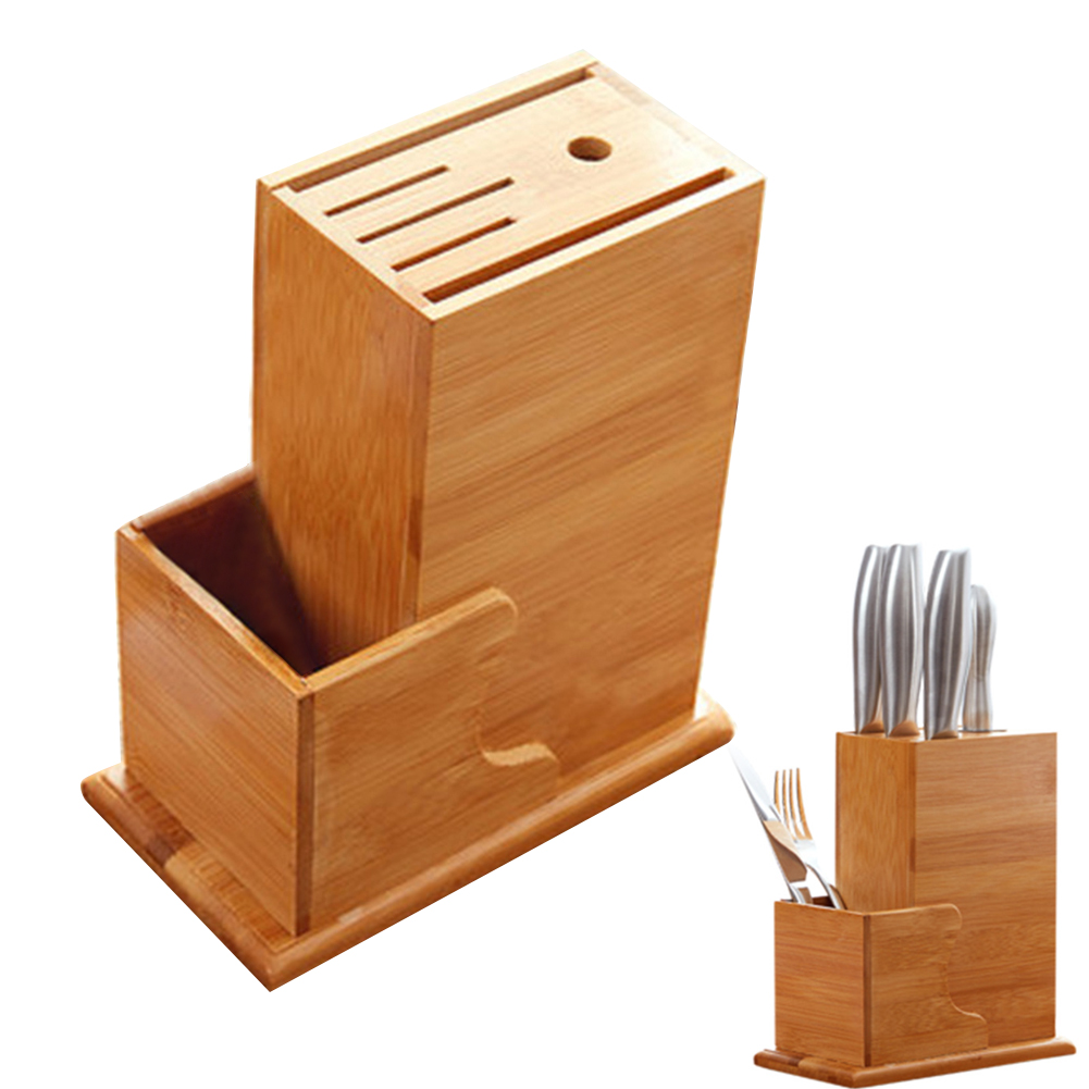 Forks Chopsticks Holder Organizer Block Stand Tool Home Kitchen Chopper Slot Storage Rack Scissor Spoon Natural Bamboo Wood
