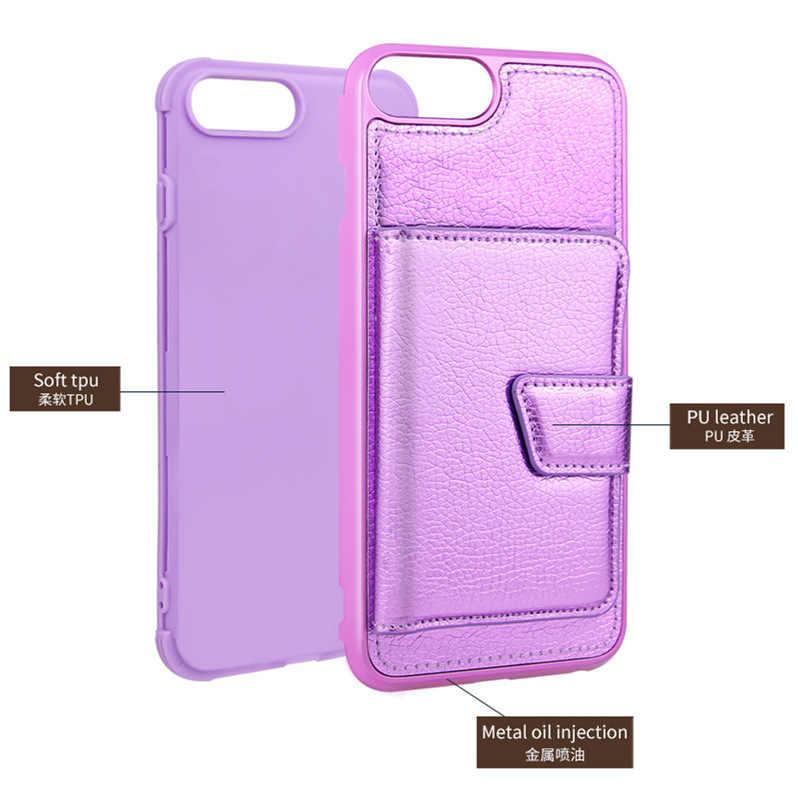 クリエイティブ IPhone7/8 プラスフラッシュグラデーションカラー電話ケースアップル Xs MAX-カード Instert 女性保護レザーケース