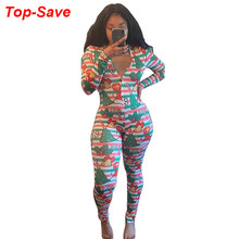 Fall 2019 Winter Vintage Fashion Casual Christmas Printed Jumpsuit Elegant Temperament Bandage Long Party Jumpsuits Dropshipping(China)