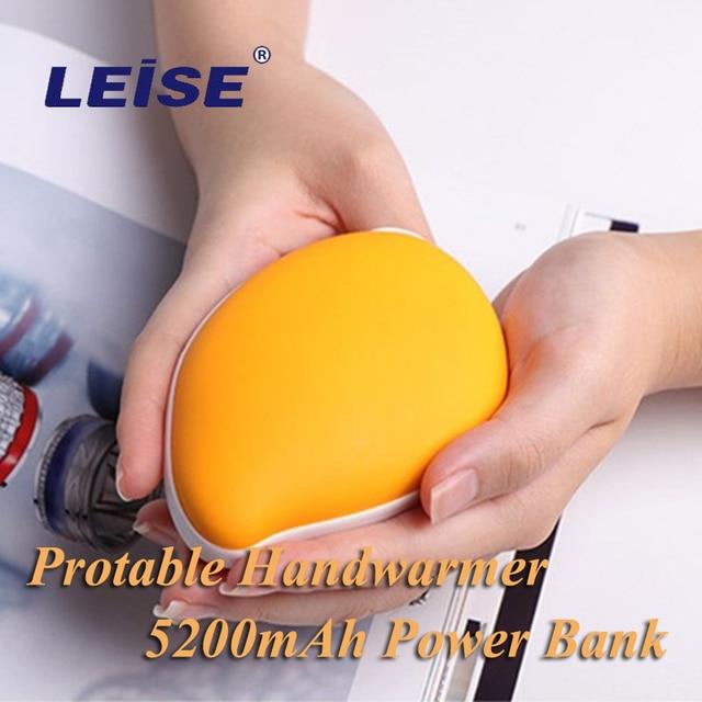 Leise hand warmer 5200 mah power bank portátil usb recarregável pouco mango handwarmer powerbank dupla face aquecimento rápido