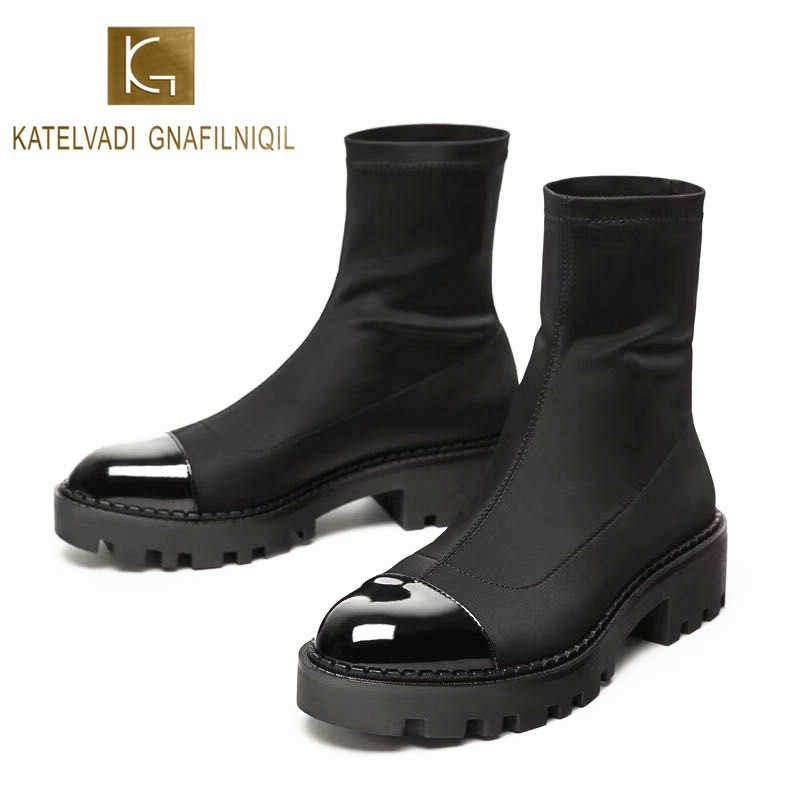 KATELVADI Autumn Winter Boots Black Stretch Fabric Ankle Boots Non Slip Rubber Outsole Fashion Chelsea Shoes  K-489