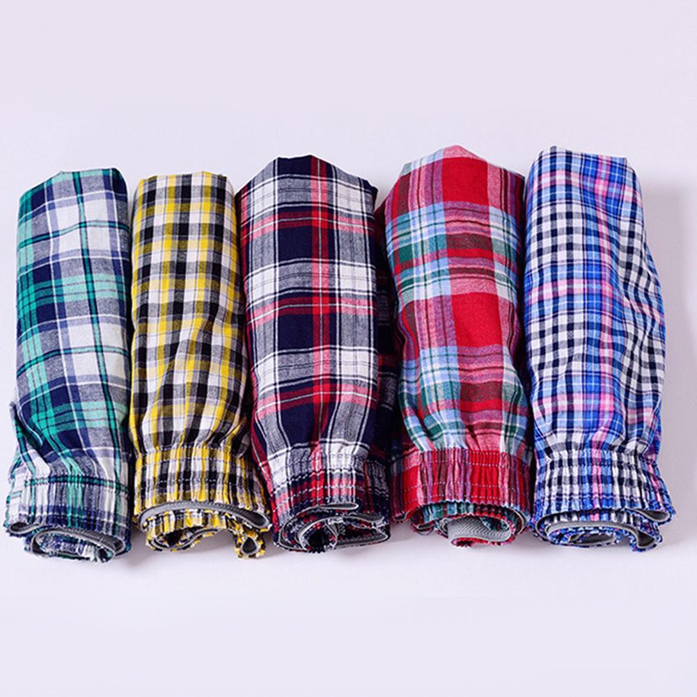 1pc Men's Cotton Arrow Boxers Casual Plaid Print Elastic Waist Underwear Summer Loose Breathable Beach Pants Boxers Shorts