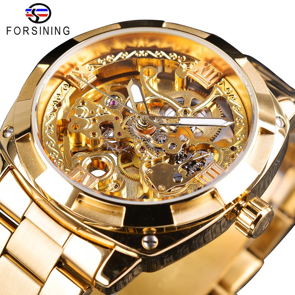 Forsining 2018 Fashion Retro Men's Automatic Mechanical Watch Top Brand Luxury Full Golden Design Luminous Hands Skeleton Clock