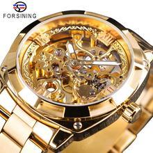 Forsining موضة شفافة الرجال الرجعية التلقائي ساعة ميكانيكية العلامة التجارية الفاخرة كامل الذهبي مضيئة الأيدي الهيكل العظمي ساعة