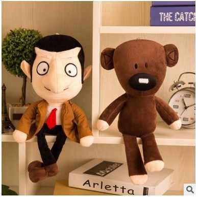 2PCS Mr Bean+Teddy Bär weiche Puppe gefüllte Tier Plüsch Spielzeug Xmas Geschenk