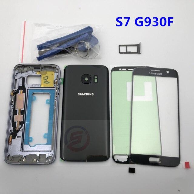 מלא שיכון Case חזרה כיסוי + מסך קדמי זכוכית עדשה + התיכון מסגרת לסמסונג גלקסי S7 G930F G930 מלא חלקי