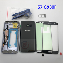 Full Housing Case Back Cover + Front Screen Glass Lens + Middle Frame For Samsung Galaxy S7 G930F G930 Complete Parts