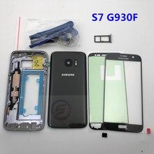 Volle Gehäuse Fall Zurück Abdeckung + Frontscheibe Glas Objektiv + Mittleren Rahmen Für Samsung Galaxy S7 G930F G930 Komplette teile