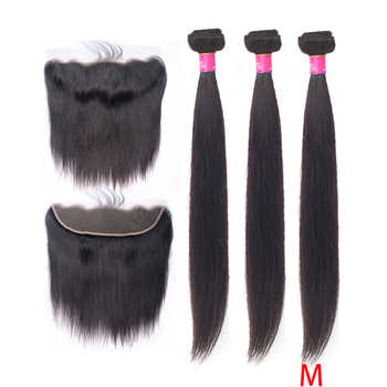 Beauty Grace Bundles With Frontal 3 Bundle Non-Remy 13x4 Frontal Closure Peruvian Straight Human Hair Weave Bundles With Closure - DISCOUNT ITEM  33% OFF Hair Extensions & Wigs