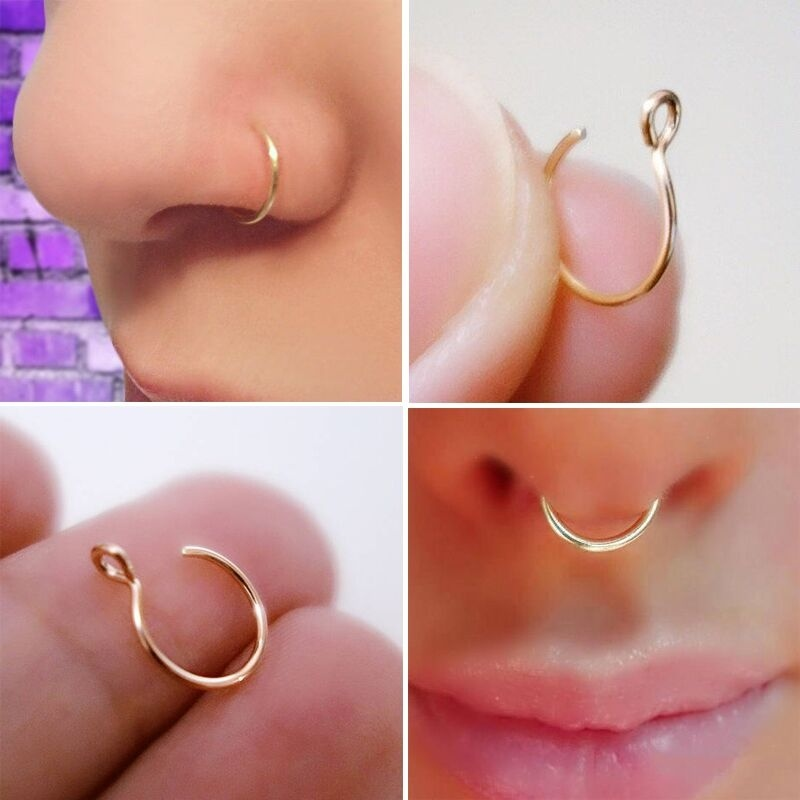 feecolor 3pcs 14K Gold Fake Nose Ring Clip On Faux Piercings Simple Unisex Jewelry