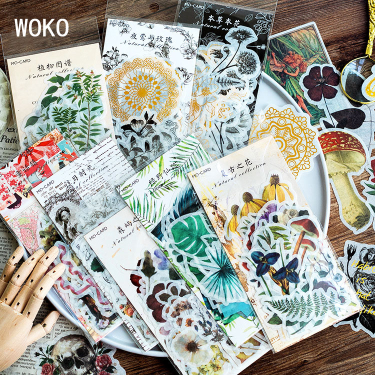 60PCS Vintage Bullet Journal Stickers Kawaii Gold Skull Flower Plant Stickers Fairy Tale Scrapbooking Diary Planner Stationery