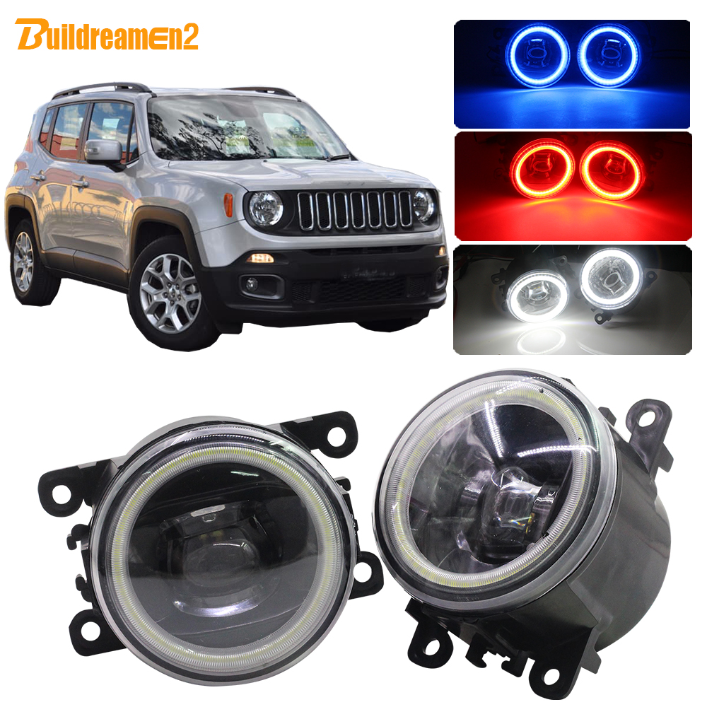 Buildreamen2 Car H11 LED Lamp 4000LM Fog Light Lens Angel Eye Daytime Running Light 12V For Jeep Renegade BU 2015 2016 2017 2018(China)