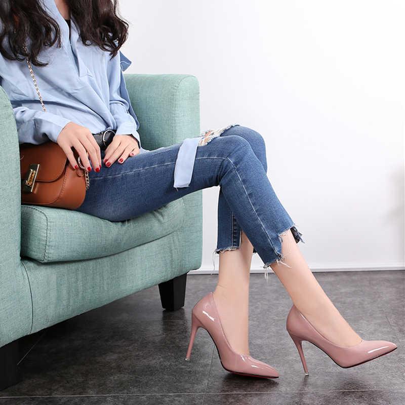 Size Lớn Giày Nữ Giày Cao Gót Mùa Hè 2020 Cơ Bản Công Sở Nữ Giày Bơm Thời Trang Chỉ Súc Tích Da Gót Zapatos De mujer