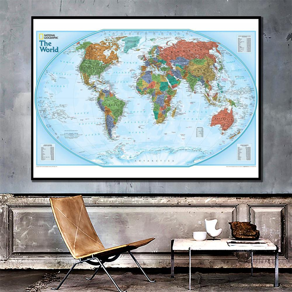 The World Map Non-woven Waterproof Map Without National Flag For Beginner 150x225cm