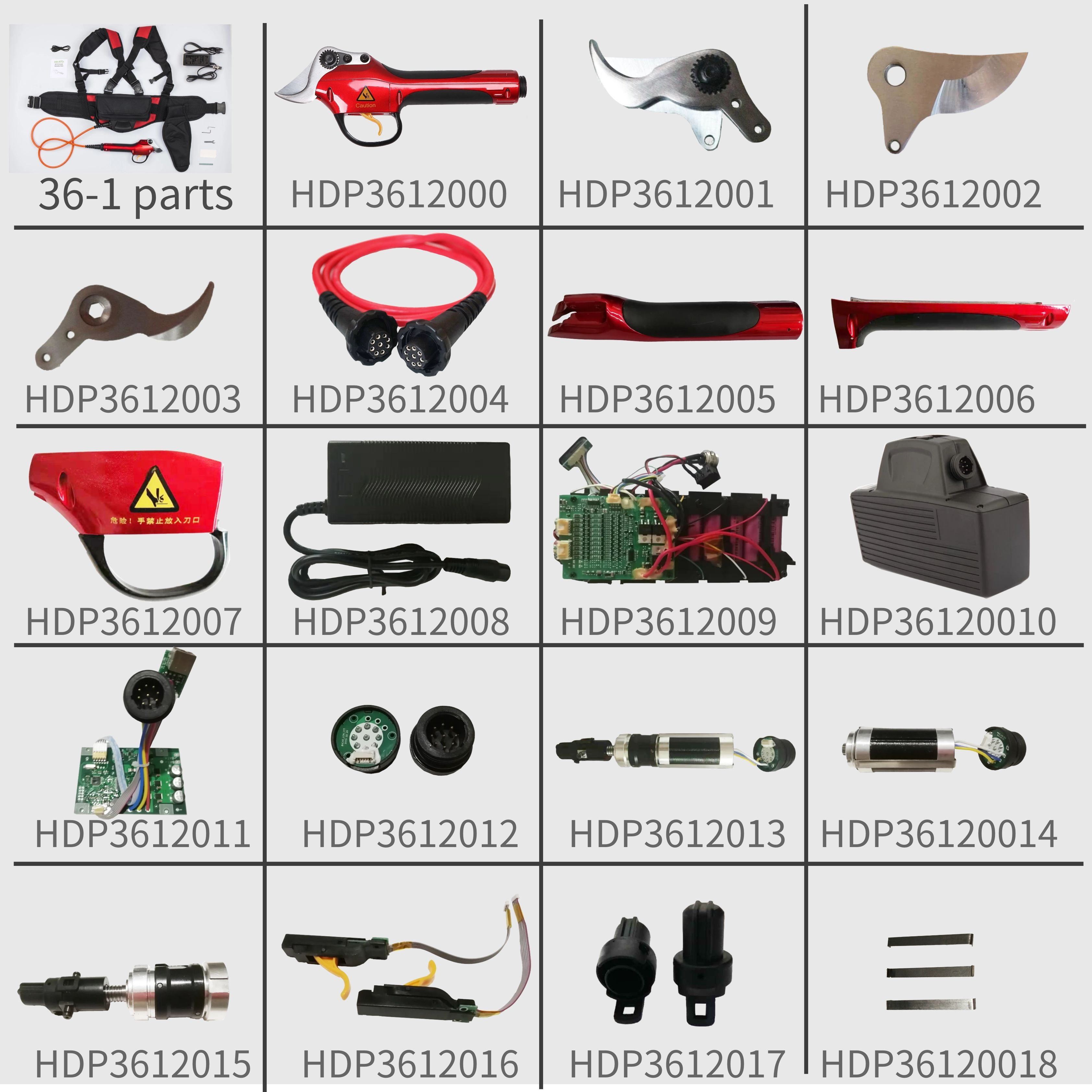 Link I HDP36-1 Spare Parts, 9 Pin Version Pruner Cover Shell (HDP3612000-HDP3612017 )