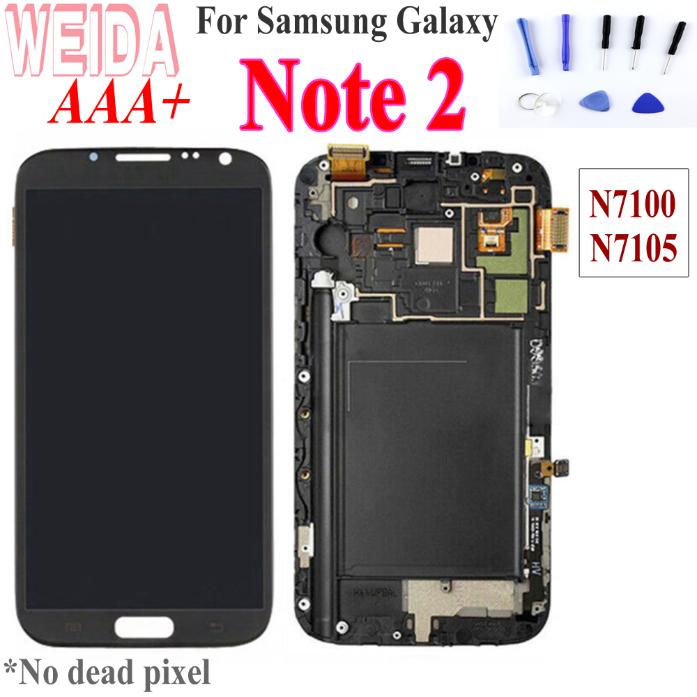 Original For 5.5 SAMSUNG Galaxy Note2 LCD Touch Screen with Frame Digitizer For SAMSUNG Note 2 Display N7100 N7105 i317 T889 image
