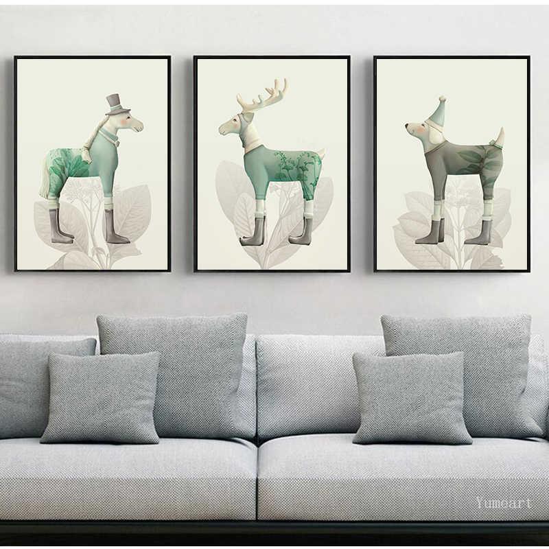 動物犬馬鹿ミニマリストポスター北欧壁アートプリントキャンバス絵画壁の写真リビングルームの家の装飾