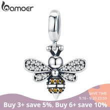 BAMOER Genuine 925 Sterling Silver Crystal Bee Crystal Charm fit Women Charm Bracelets DIY Jewelry Girlfriend Gift SCC821(China)