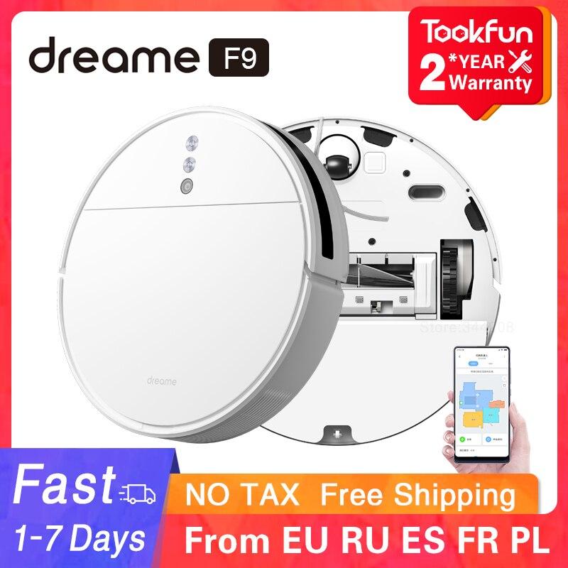 Dreame f9 robô aspirador de pó para casa lavagem sem fio esfregar 2500pa sucção ciclone varrendo xiaomi wifi app inteligente planejado