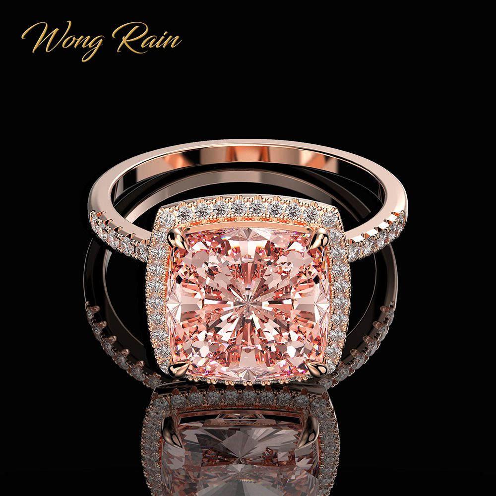 Wong Rain Luxury 100% 925 Sterling Silver Created Moissanite Morganite Gemstone Wedding Engagement Ring Fine Jewelry Wholesale