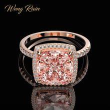 Wong Rain Luxury 100% 925 Sterling Silver Created Moissanite Morganite Gemstone Wedding Engagement Ring Fine Jewelry Wholesale