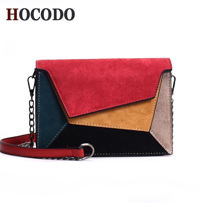 HOCODO Leather Patchwork Women Messenger Bag Retro Matte Crossbody Bags For Women Chain Strap Shoulder Bag Flap Criss-Cross Bag