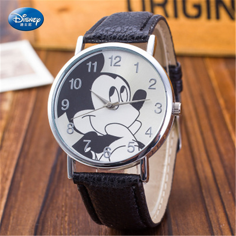 Disney Mickey Mouse Quartz Wristwatch Korean Style Fashion Simple Children's Watch Boys And Girls Water Resistant Watch Buckle