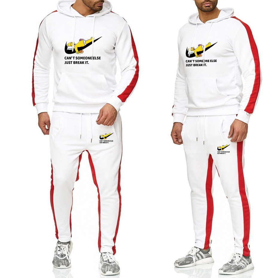 2019 New Hot Two Two-piece Men's Athletic Suit New Brand Autumn/winter Hooded Sweatshirt + Suspenders Men's Thickened Hoodie