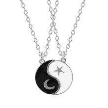 BFF Necklace Couple Yin Yang Best-Friend Pendant Mens Jewelry White Ladies Tai-Chi-Gossip
