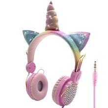 Jinserta 귀여운 유니콘 유선 헤드폰 소녀 daugther 음악 스테레오 이어폰 컴퓨터 휴대 전화 게이머 헤드셋 키즈 선물