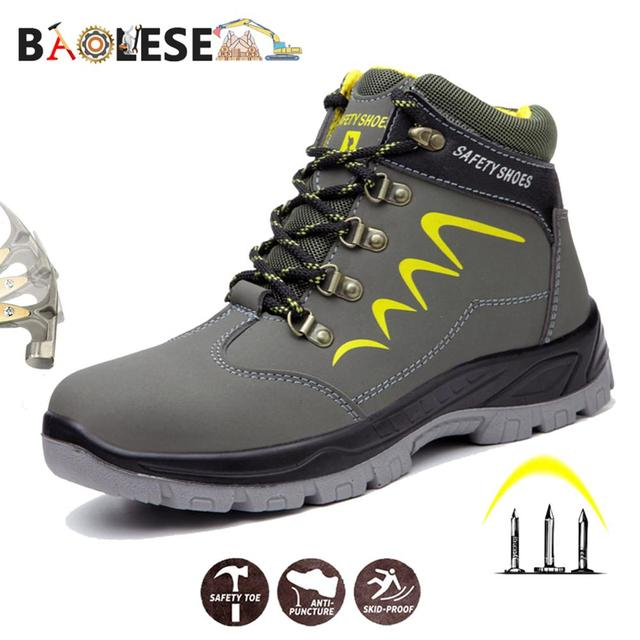 BAOLESEM Man Safety Shoes Mens Winter Safety Male Work Shoes Water proof Work Sneaker Anti smashing Safety Shoes for Men