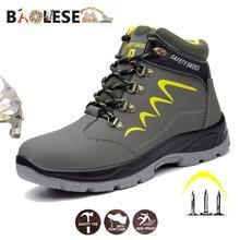 Baolesem男安全靴の男性の冬の安全男性作業靴防水作業スニーカー抗スマッシング安全男性のための