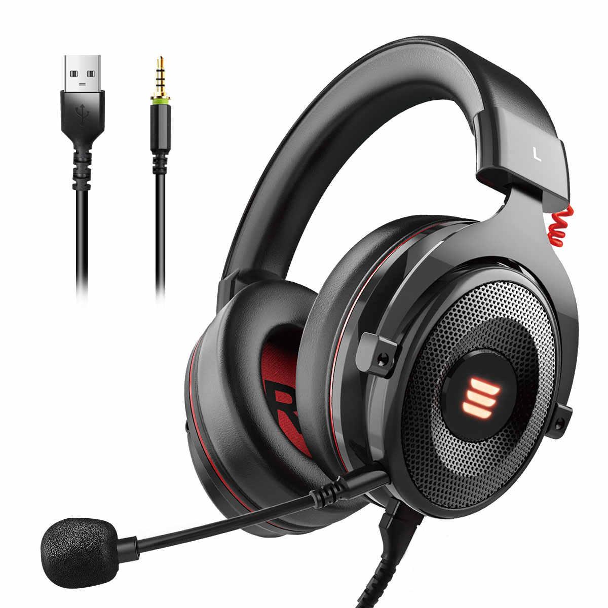 EKSA E900 Pro 2 en 1 USB virtuel 7.1/3.5mm casque de jeu professionnel avec micro commande vocale/écouteurs lumineux à LED pour PC Gamer