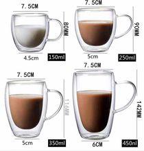 Simplicity Heat Resistant Double Wall Shot Beer Wine Coffee Coffee Mug Tea Cup 80-450ml Creative Tea Glasses