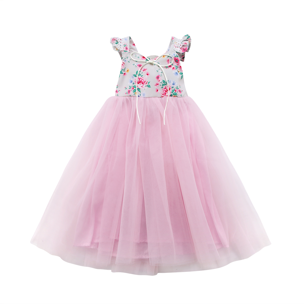 Floral Kids Baby Girls Sleeveless Dress  Princess Pageant Sundress Outfit 1-7Y