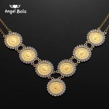 Collar musulmán islámico de cristal con moneda árabe para mujer, Color dorado, estilo islámico árabe/africano, regalo de la suerte