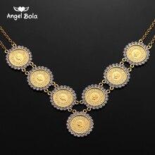 NEUE Arabische Münze Kristall Muslimischen Islam Allah Halskette für Frauen Gold Farbe Arabischen/Afrika Islamischen Wie Schmuck Machen Geld geschenk Glück