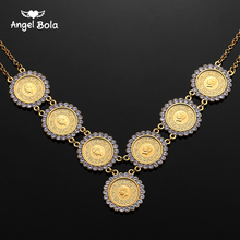 NEW Arabic Coin Crystal Muslim Islam Allah Necklace for Women Gold Color Arab/Africa Islamic Like Jewelry Make Money Gift Lucky
