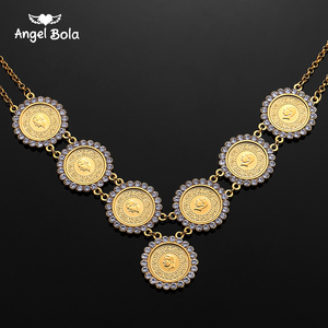 Image 1 - NEW Arabic Coin Crystal Muslim Islam Allah Necklace for Women Gold Color Arab/Africa Islamic Like Jewelry Make Money Gift Lucky