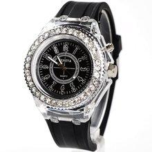 Модные женские кварцевые наручные часы geneva со светодиодной